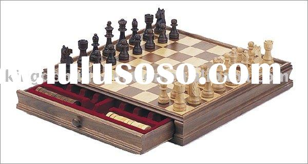 Classic Wooden Chess & Checker Set/Wooden board game/wooden chess game/wooden checker
