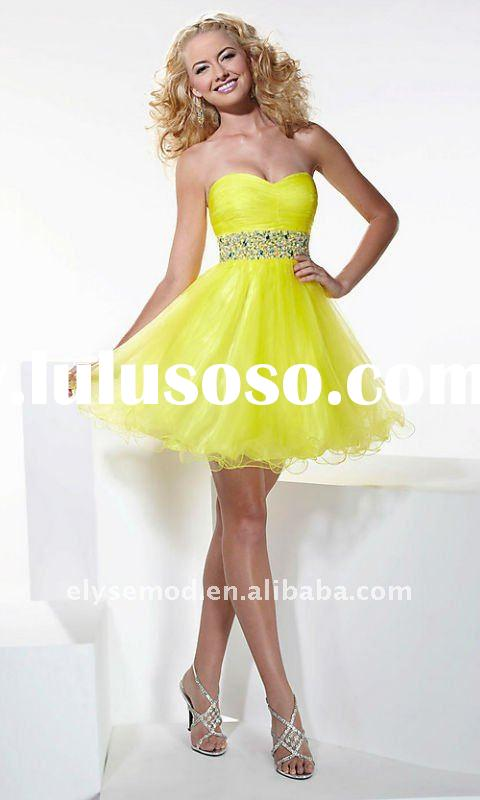 Custom Made 2011 Summer A-line Beaded Strapless Tulle Short Yellow Homecoming Dress