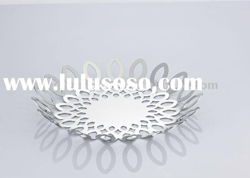 Decorative stainless steel fruit bowl / fruit tray