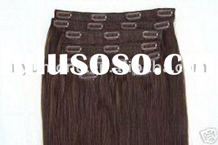 "Deluxe sets 20"" Human hair clip in extensions 10 pieces Full Head Set"