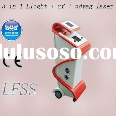 E-light,ipl+rf,rf,ndyag laser 3 in 1 beauty equipment for hair removal,skin rejuvination,acne treatm