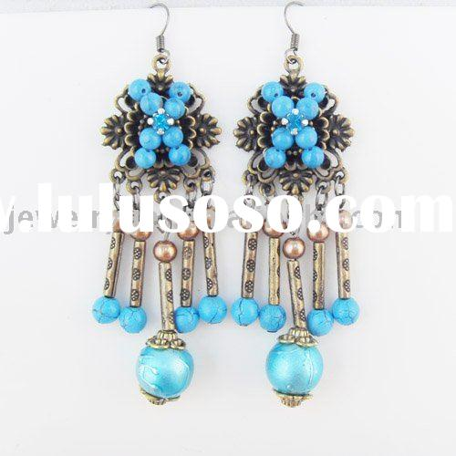 Earrings,chandelier earrings,turquoise earrings,vintage earrings ER-218