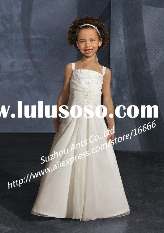 FL150 Embroidered A-line Chiffon Ivory Flower Girl Dress
