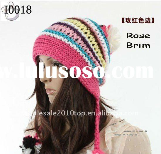 Fashion Bohemian Style Women Winter Knitted Hat With Braided Pigtail