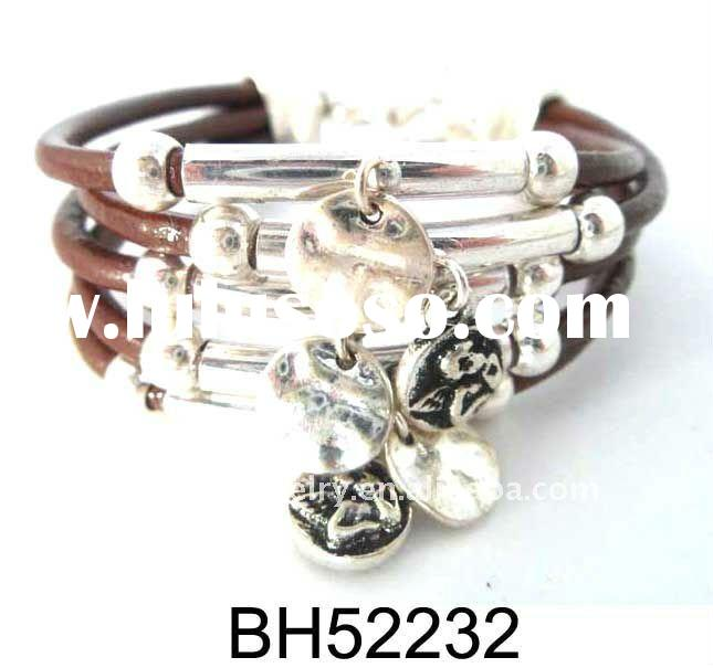 Fashion Handmade Leather Beaded Alloy Charm Bracelet And Bangle Jewelry