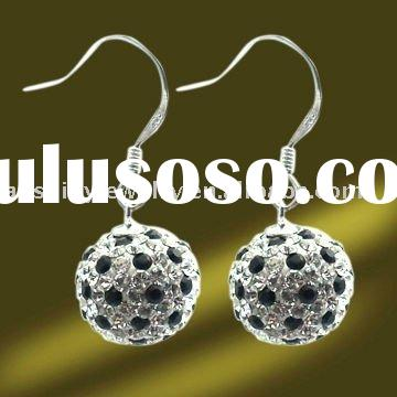 Fashion Handmade Silver Disco Blue Spotlight Crystal Dangle Earrings