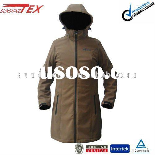 Fashion!!!Men's brown softshell jacket with hood