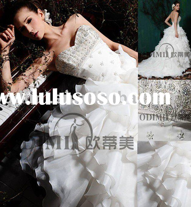 Fashion Sweetheart Long Organza Bridal Wedding Dress