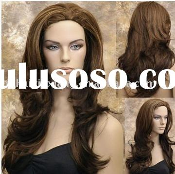 Fashion ladies` wefted Kanekalon synthetic lace front wigs,front lace wigs in stock