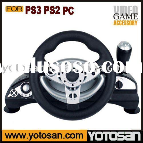 For PS3 PS2 PC 3 IN 1 Game steering wheel wired vibration