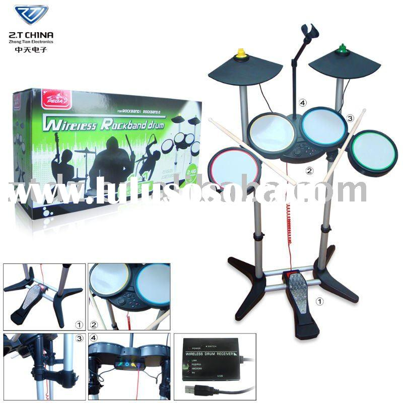 For WII 2.4G 4in1 Wireless Rock band Drum / video game accessories