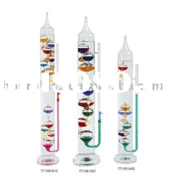 Galileo thermometer and glass barometer; Weather station