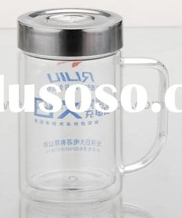 Glass drinking cup with stainless steel cover