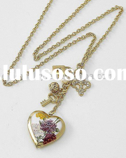 Gold Tone / Clear Rhinestone / Lead&nickel Compliant / Long Assorted Charm Heart Locket Necklace