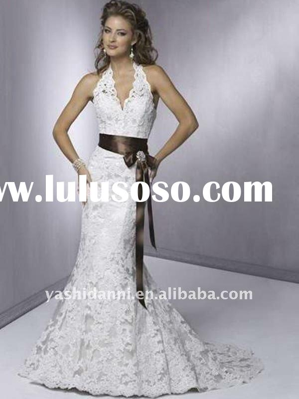 Halter Belt Sheath Corset Backless Lace Wedding Dress