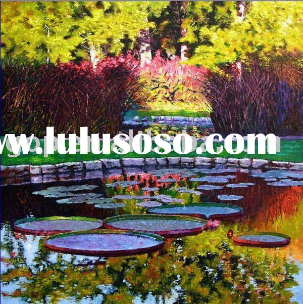Hand Painted lotus oil painting on canvas