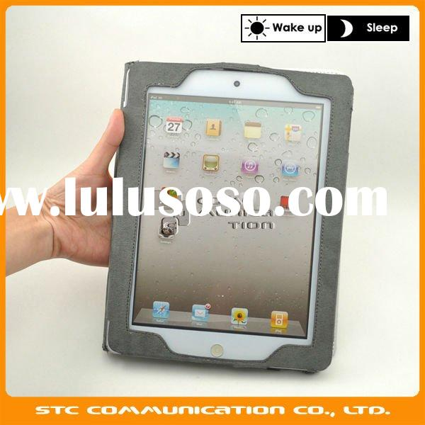 Hand holder Case for iPad2,Portable PU Leather Case for ipad 2,PU outside,Soft cloth inner,wake up a