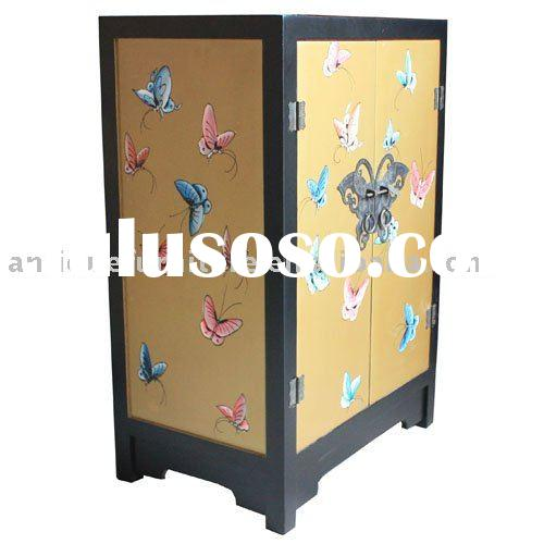 Hand painted furniture,Butterfly cabinet,wooden painted furniture