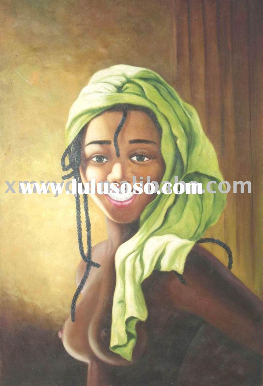 Handmade Natural African Portrait Oil Painting on Canvas XYQ-411