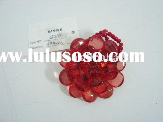 Handmade flower beaded napkin ring red