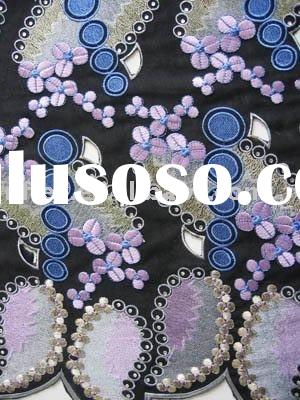 High quality Embroidery Lace,Swiss Voile Lace DF023 with Rhinestones