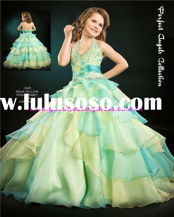 Hot 2011 Fashion Halter Ball Gown New Design Flower Girl Dress