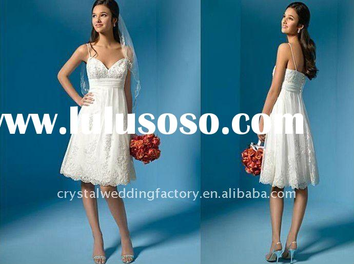 Hot sale knee length lace custom-made short wedding dress/little white dress CWFaw1385