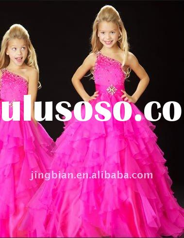 Hot sell Lovely Fun flirty Blue Flower girl dress with Halter neckline and Waist sash 2012 Pop Pagea