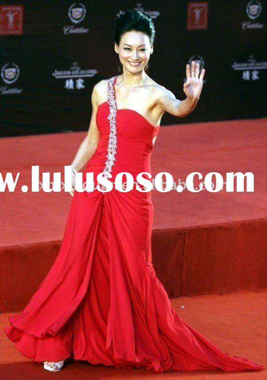 JJ030 red crystal beaded one-shoulder pleated celebrities dress evening dress red carpet dress