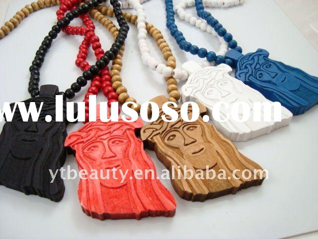 Jesus Face pendant wooden Rosary necklace
