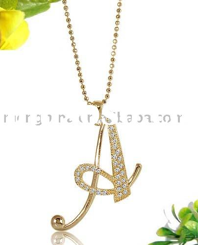 Jewelry, Fashion Jewelry, Imitation Jewelry, Initial Jewelry, Plated 20K Gold Initial Letter A penda
