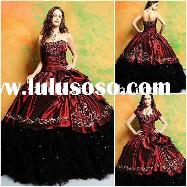 Jun Mei Q0030 Ball gown black and red quinceanera dress