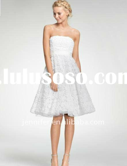 Knee- length strapless white lace evening /wedding dress (abh325)