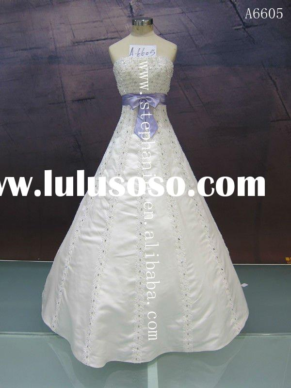 Lace Appliqued and Beaded wedding dress black sash