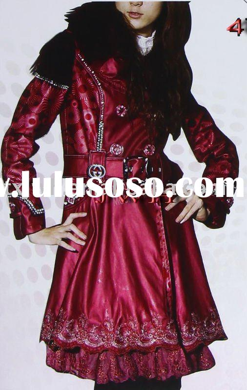 Ladies' fashion leather coat with fox fur collar