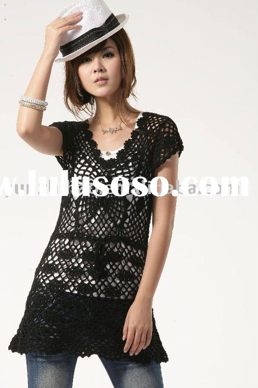 Lady hand crochet sweater blouse