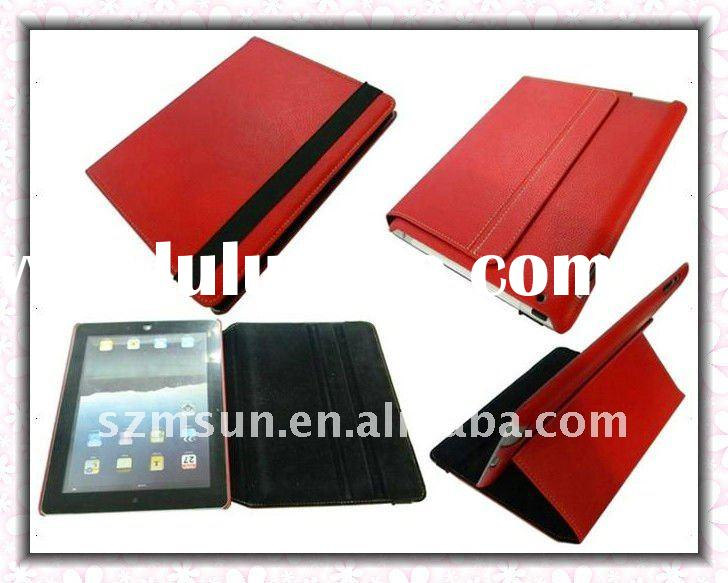Latest Design Portfolio Leather Cover Case for iPad 2 with Holder