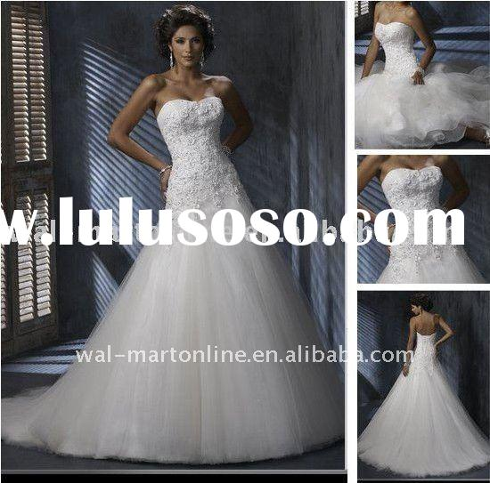Latest MG265 Ball Gown Sweetheart White Organza Lace Top Wedding Dress 2012