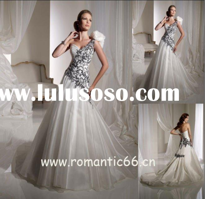 Leading style one strap applique blue and white wedding dresses