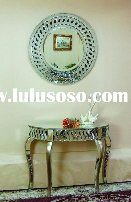 Living room half moon hand painted table and mirror