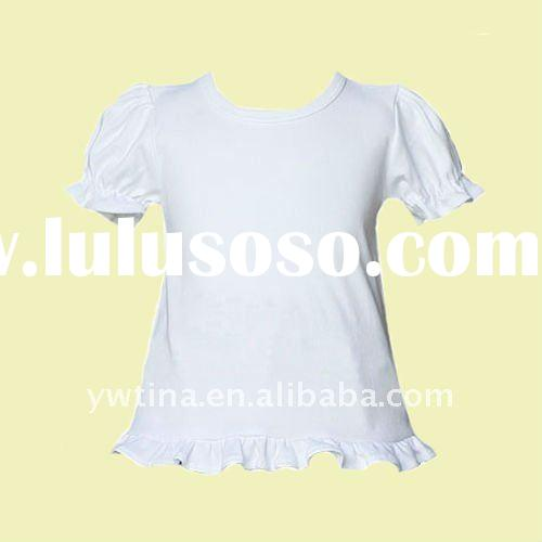 Lovely Plain White 100%Cotton Short Sleeve t shirt/Petti Top/pettitop/Tees for Children