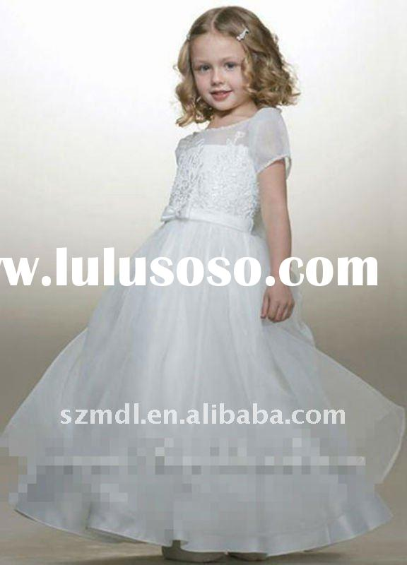 Lovely cap sleeve white long princess ball gown flower girl dress
