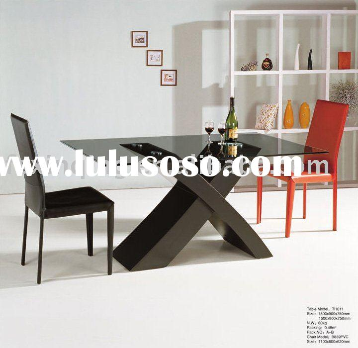 MDF base glass top dining table TH611
