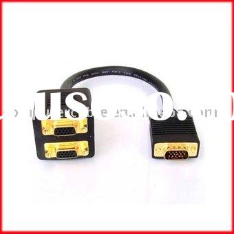 Male VGA to 2 VGA Female Adapter Splitter Cable
