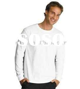 Men's blank cotton white long sleeve t shirt