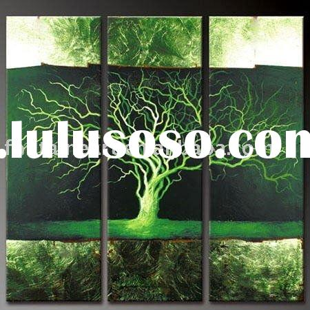Modern Decorative tree oil painting,green,black,white,three panels