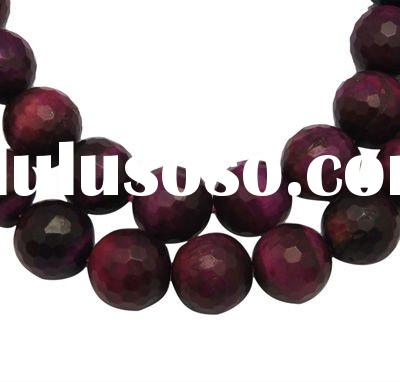 Natural Gemstone Beads Strands, Tiger Eye, Faceted, Round, Fuchsia, about 10mm, hole: 1mm, 39pcs/str