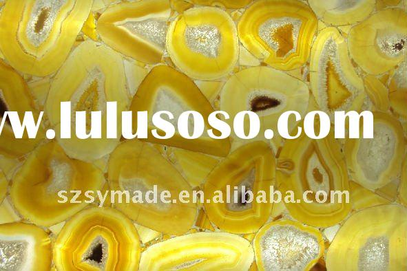 Natural gemstone yellow agate mosaic tile agate decorative panel decorative panel for bar counter