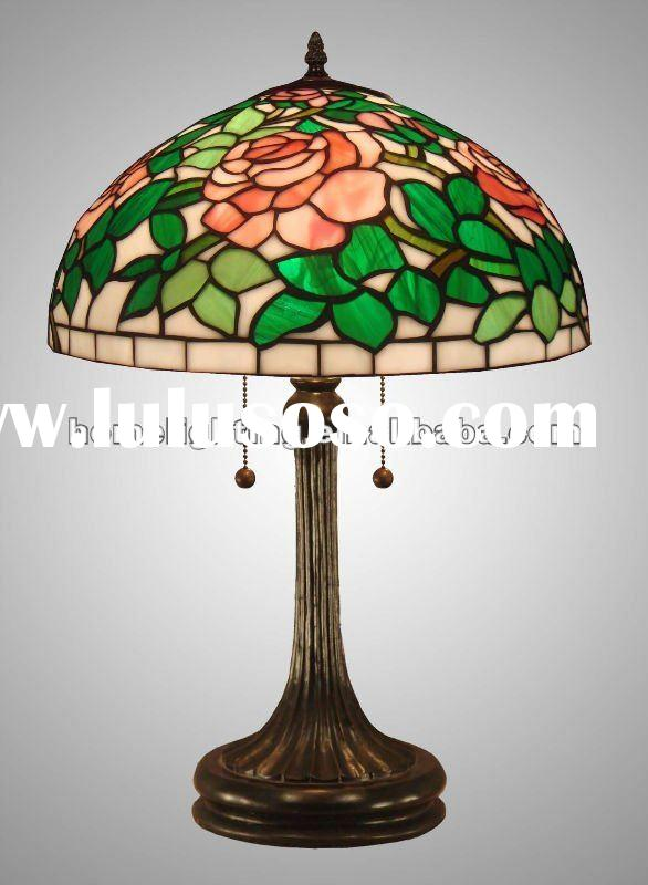 New Tiffany Style Art Glass Rose Table Lamp ,TFT-1663