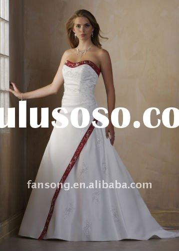 New arrival strapless red and white emroidery satin wedding dress